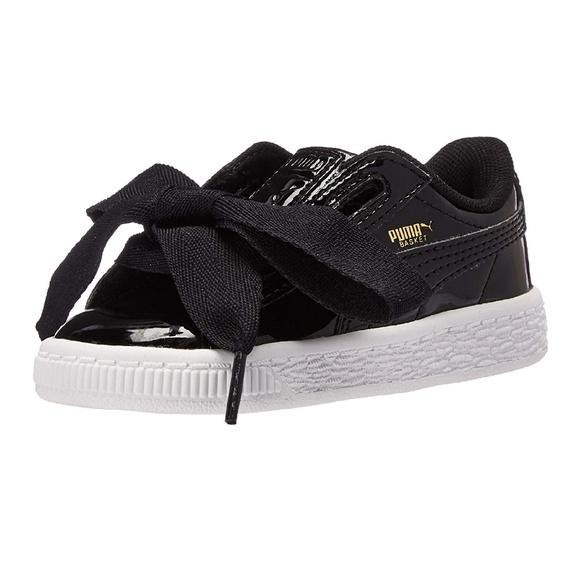 Puma Girls Basket Heart Patent Shoes 0406af104